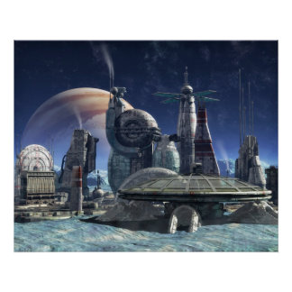 Jupiter moon colony poster