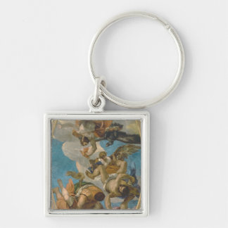 Jupiter Striking Down the Vices (oil on canvas) Silver-Colored Square Key Ring
