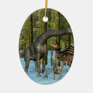 Jurassic Dinosaurs in a Mossy Swamp. Christmas Ornament