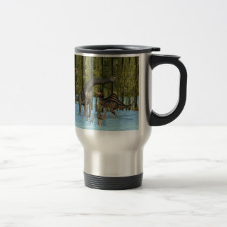 Jurassic Dinosaurs in a Mossy Swamp. Stainless Steel Travel Mug