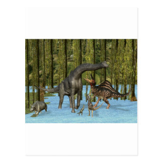 Jurassic Dinosaurs in a Mossy Swamp. Postcard
