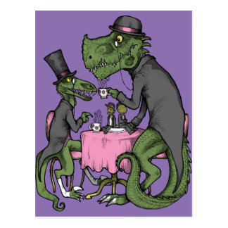 Jurassic Tea Party Postcard