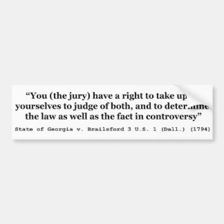 Jury Nullification State of Georgia vs Brailsford Bumper Sticker