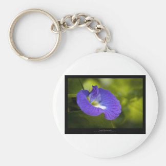 Just a flower – Blue flower 006 Basic Round Button Key Ring