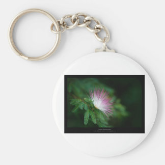 Just a flower – Pink & White flower Caliandra 011 Basic Round Button Key Ring