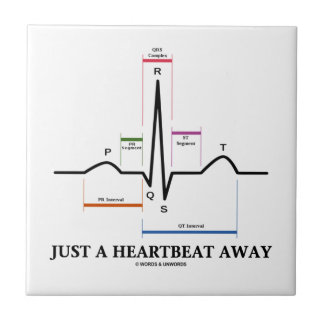 Just A Heartbeat Away (EKG/ECG Humour) Small Square Tile