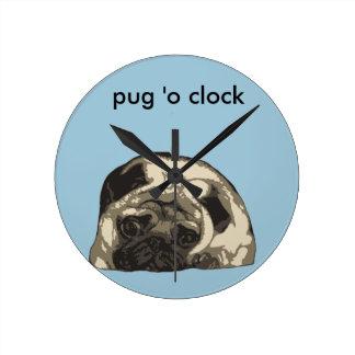 Just a ittle cute pug... round clock