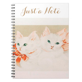 Just a note vintage kittens cat drawing cute spiral notebook
