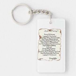 Just A Penny ? Double-Sided Rectangular Acrylic Key Ring