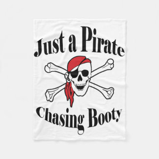 Just a Pirate Chasing Booty - Colorful Skull Fleece Blanket
