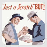 """Just a Scratch"" First Aid Poster Square Stickers"
