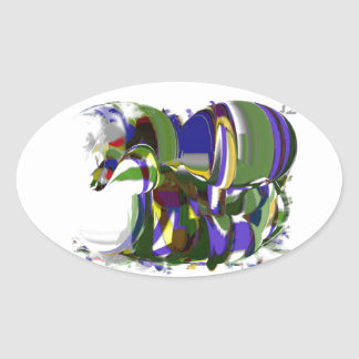 Just A Wild Pony Abstract Horse Modernism Art Oval Sticker
