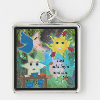 Just Add Light and Stir Silver-Colored Square Key Ring