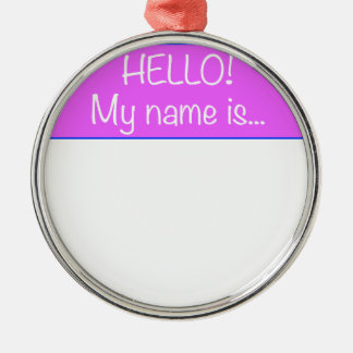 Just add YOUR NAME Silver-Colored Round Decoration
