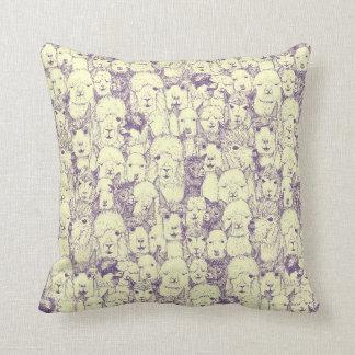 just alpacas purple cream throw pillow