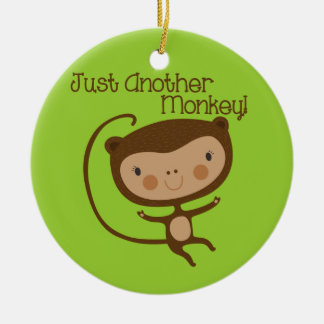 Just Another Monkey Double-Sided Ceramic Round Christmas Ornament