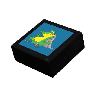just ate a human funny gator cartoon small square gift box