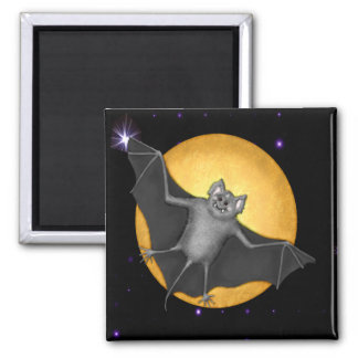 Just Batty  Harvest Moon Square Magnet