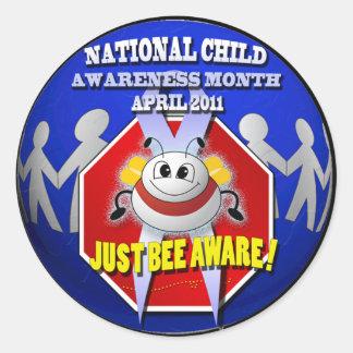 JUST BEE AWARE National Child Awareness Month Round Sticker
