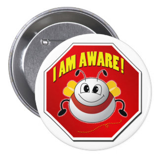 Just Bee Aware Round Button