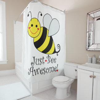Just Bee Awesome Cute Bumble Bee Shower Curtain