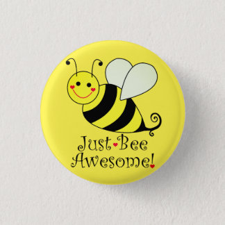 Just Bee Awesome Yellow Bumble Bee 3 Cm Round Badge