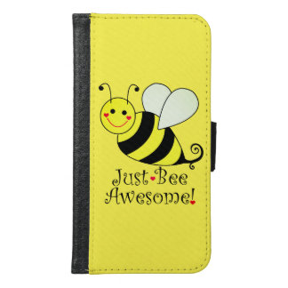 Just Bee Awesome Yellow Bumble Bee Samsung Galaxy S6 Wallet Case