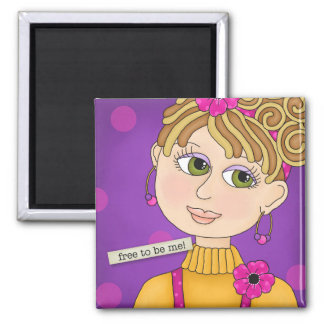 """Just Bee 'n Me Girls"" Square Magnet"
