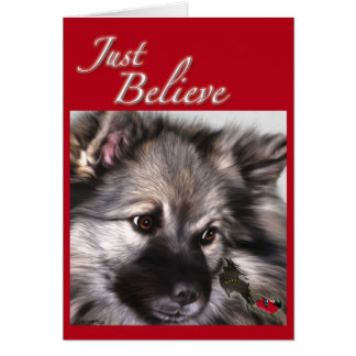 """Just Believe"" Keeshond Christmas card"