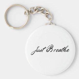 just breathe basic round button key ring