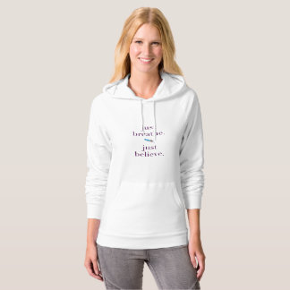 Just Breathe Feather Boho Yoga Quote Hoodie