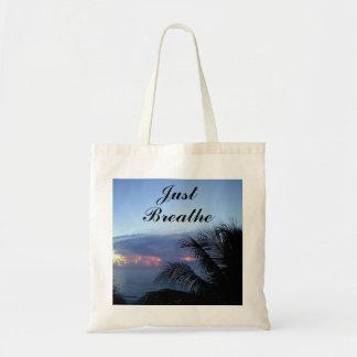 Just Breathe Ocean Sunrise Palm Tree Tote Bag