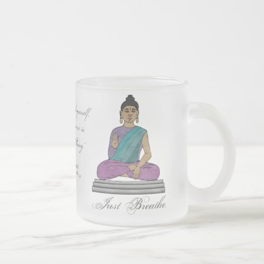 Just Breathe (Personalised Frosted Glass Mug) Frosted Glass Coffee Mug