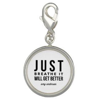 Just Breathe Women's Round Bracelet Charm