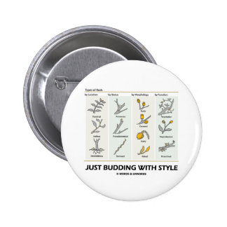 Just Budding With Style (Types Of Buds) 6 Cm Round Badge