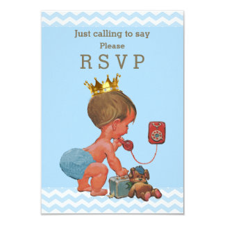 Just Calling to Say Please RSVP Prince Chevrons 9 Cm X 13 Cm Invitation Card