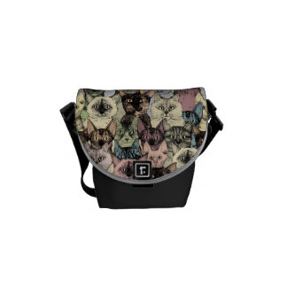 just cats retro courier bag