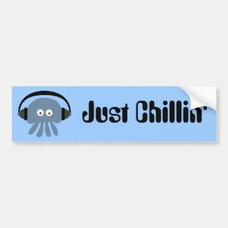 Just Chillin' Blue Jellyfish With Headphones Bumper Sticker