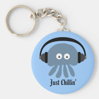 Just Chillin' Blue Jellyfish With Headphones Key Ring