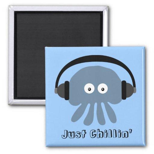 Just Chillin' Blue Jellyfish With Headphones Fridge Magnets
