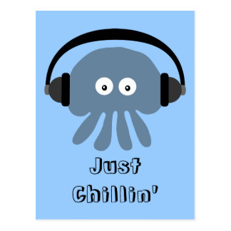 Just Chillin' Blue Jellyfish With Headphones Postcard