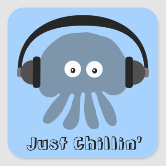 Just Chillin' Blue Jellyfish With Headphones Square Sticker
