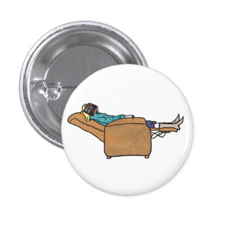 Just chillin book reading funny novelty art badge