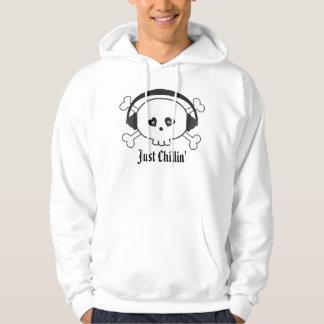 Just Chillin' Cartoon Skull With Headphones Hoodie