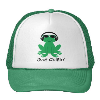 Just Chillin' Frog With Headphones & Shades Cap
