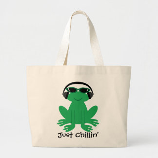 Just Chillin' Frog With Headphones & Shades Jumbo Tote Bag