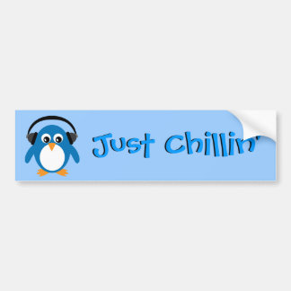 Just Chillin' Penguin With Headphones Bumper Sticker