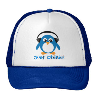 Just Chillin' Penguin With Headphones Cap