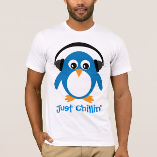 Just Chillin' Penguin With Headphones T-Shirt