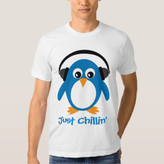 Just Chillin' Penguin With Headphones Tee Shirts